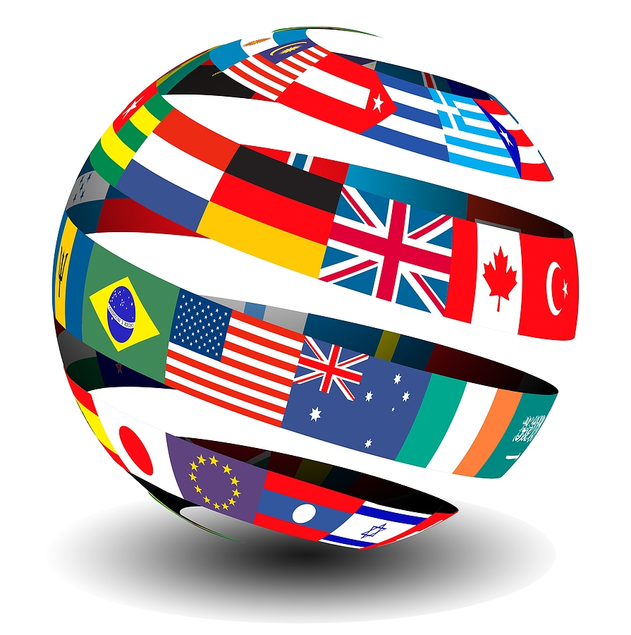 Different flags of the world set in a globe with a peel/ribbon effect